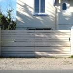 portails pvc cadre inox gainé ajouré à lames horizontal